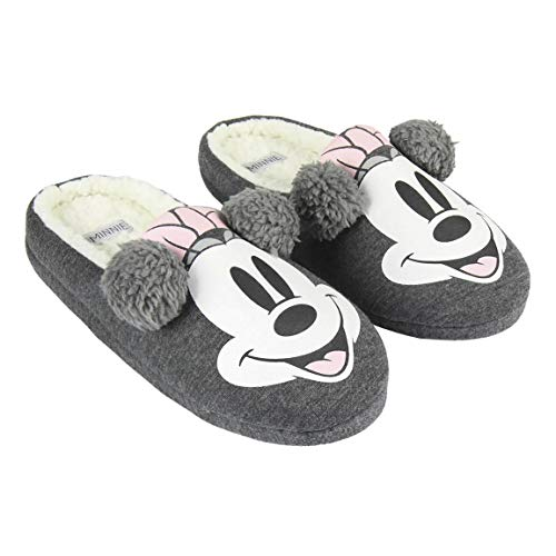 Artesania Cerda Zapatillas DE CASA Abierta Premium Minnie, Mujer, Gris (Gris C13), 39 EU