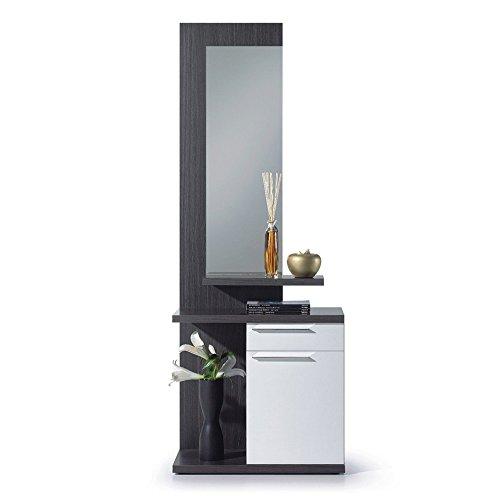 Recibidor con Espejo, Mueble de Entrada, Acabado en Color Blanco Brillo y Gris Ceniza, Medidas: 186 cm (Alto) x 61 cm (Ancho) x 29 cm (Fondo)