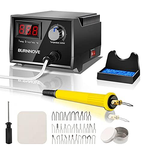 BURNNOVE Kit per Pirografia a Legna 60W 220V con Temperatura Regolabile da 0 °C a 750 °C Display Digitale a 33 Teste di Penna