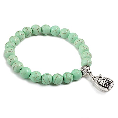 DMUEZW Nieuwe Vrouw Mode Armband Mat Zwart Vintage Elastische Touw heren armbanden Natuurlijke Steen Armbanden Zilver