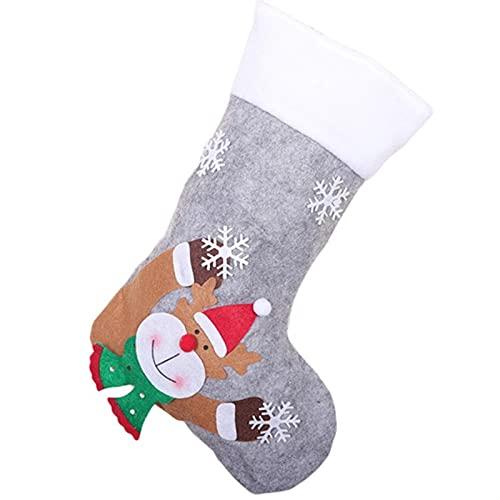 GDYJP Medias de Navidad Calcetines LED LED Hombre de Nieve Santa Elk Oso Impresión Navidad Candy Bolso Bolso Chimenea Árbol de Navidad Decoración (Color : C, Tamaño : One Size)