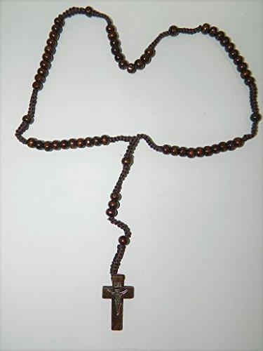 sans Chapelet en Bois Grains Ronds Marron foncé 6mm sur Corde Croix du Christ Religieux chrétien