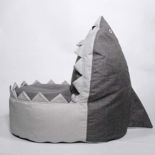 Entzückender Hai Sitzsack Couchbezug Kuscheltier Aufbewahrungstasche Stuhl für Kinder Plüschtiere Kleidung Handtücher Aufbewahrung Extra groß (Blau)
