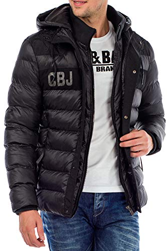 Cipo & Baxx Herren Winterjacke Steppjacke Übergangsjacke Kapuzenjacke Jacke Jacket Warm Jacke Schwarz S