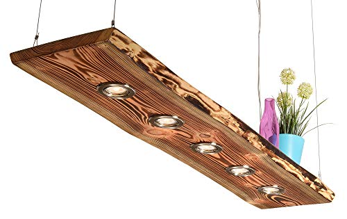 Blockholz-Schmiede Deckenlampe Holz geflammt für die Küche - Wohnzimmer Vintage Hängelampe – Esszimmer Pendelleuchte – Deckenleuchte mit LED Beleuchtung 5W Warmweiß, Größe: 80cm 3 LEDs