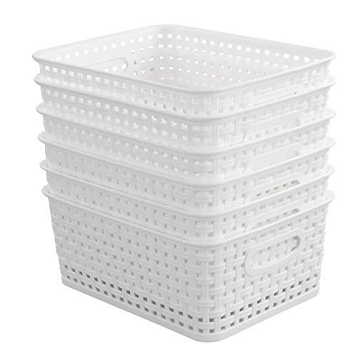 Hokky Weiß Aufbewahrungskorb 6er, Haushaltskorb Kunststoff, Praktische Korb Körbchen