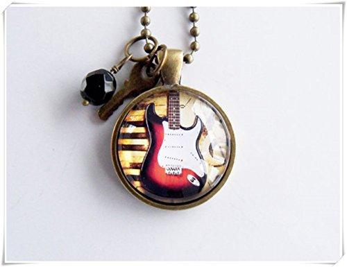 Collar de guitarra eléctrica, joyería de instrumento musical, joyería de roca y cúpula de cristal, hecho a mano