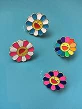 Jaese Takashi Murakami Rainbow sunflowers and wind cute brooch pin