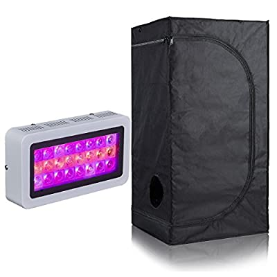 PrimeGarden 600D Mylar Grow Tent + LED Full Spectrum Grow Light Hydroponic Indoor Growing System Complete Package