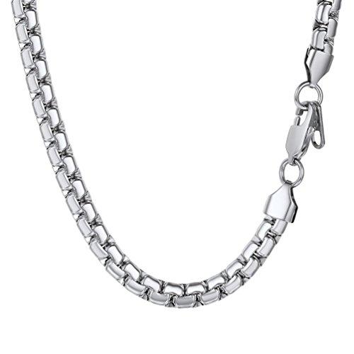 PROSTEEL Halskette Hochwertig Edelstahl Venezianierkette Box Kette 6MM Breite Herren Kette mit Karabinerverschluss, 55CM lang, Silber