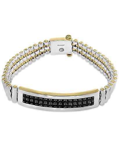3.80Ctw ronde gesneden zwart gesimuleerde diamant mannen Tennis armband 14K wit goud afwerking