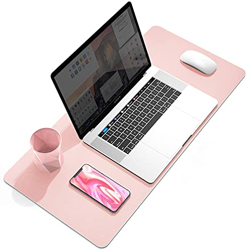 """YSAGi Multifunctional Office Desk Pad, 23.6"""" x 13.7"""" Ultra Thin Waterproof PU Leather Mouse Pad, Dual Use Desk Writing Mat for Office/Home (23.6"""" x 13.7"""", Pink)"""