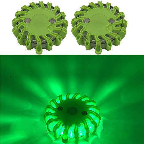 HEHEMM Lot de 2 balises rondes à 16 LED pour urgence, clignotantes et avertisseurs (vert)