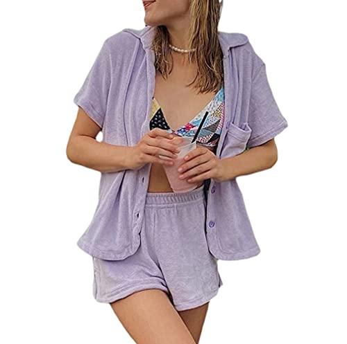 Conjunto de 2 piezas para mujer de verano con camiseta suelta, mini pantalones cortos de manga corta, casual, chándal activo Y2K E-Girl Streetwear, Morado (, M