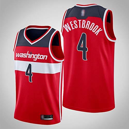 SHR-GCHAO Camiseta De Moda para Hombre, NBA Washington Wizards # 4 Russell Westbrook Camiseta De Baloncesto, Malla, Camisetas Sin Mangas Transpirables, Chalecos Deportivos Al Aire Libre,XL(180~185CM)