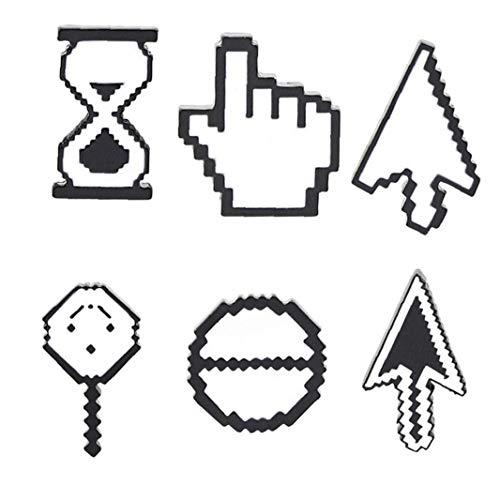 Amoyer 6pcs / Set De La Broche De Dibujos Animados Y Prendedores Linda del Botón del Ratón De La Computadora De Búsqueda Cursor Broches De Solapa Pin