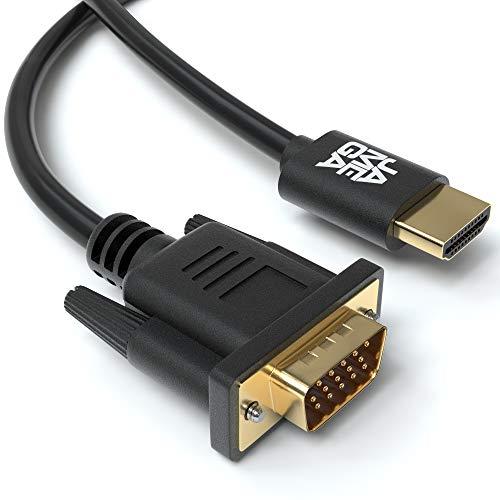 JAMEGA - 2m HDMI zu VGA Konverter-Kabel | Vergoldete HDMI auf VGA D-SUB 15 Pin HDTV 1080P Auflösung umwandeln kompatibel mit Computer, Desktop, Laptop, PC, Monitor Beamer