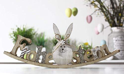 Dekorativer Schriftzug Ostern mit Hase zum hinstellen Natur Holz grau 30 cm gross IK