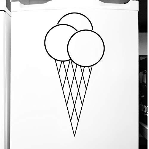 GreenIT 50cm Eistüte Waffel EIS Tüte Aufkleber Tattoo Deko Folie für Theke Tür Schaufenster (schwarz)