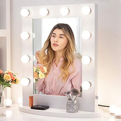 Blanco Espejo Maquillaje con Luz