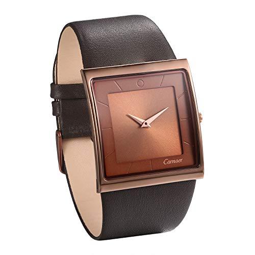 JewelryWe Herren Armbanduhr Analog Quarz 30M Wasserdicht Leder Echtleder Armband Luxus Geschäfts Uhr mit Kaffee Quadrat Zifferblat