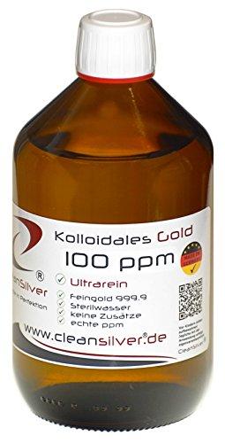 Kolloidales GOLD 100ppm, 500ml (Hochrein: Au9999, immer frisch hergestellt, pharm. Sterilwasser, Braunglas-Euromedizinflasche mit Originalitätsverschluss)