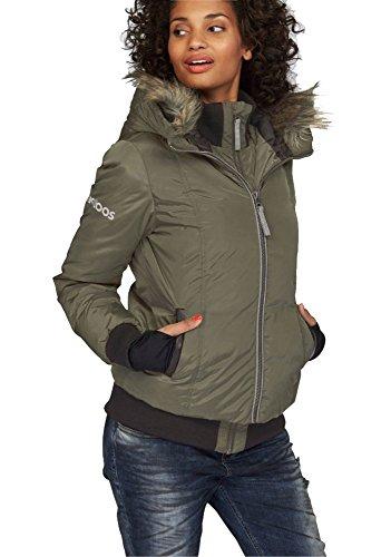 Kangaroos Damen Daunenjacke Daunen Jacke mit Kunstfell Kragen und Kapuze (Khaki, 38)