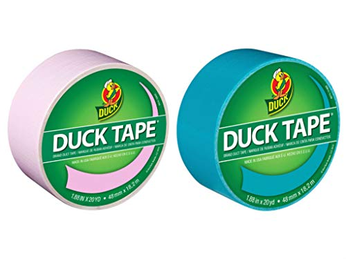 Duck Brand Color Duct Tape Gender Reveal Combo 2-Pack, Baby Pink and Aqua, 1.88 Inches x 20 Yards Each Roll, 40 Yards Total