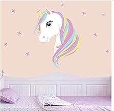 ملصقات جدارية ملونة بشكل حيوانات اليونيكورن السحرية وحصان ونجوم لغرفة الاطفال والفتيات حيث يمكنك تركيبها بنفسك
