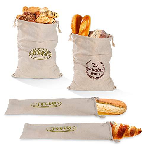 SWECOMZE Bolsa para el pan (juego de 4) – Práctica bolsa de lino 100% natural – Bolsa para el pan ecológica con cordón – Bolsa reutilizable para panecillos
