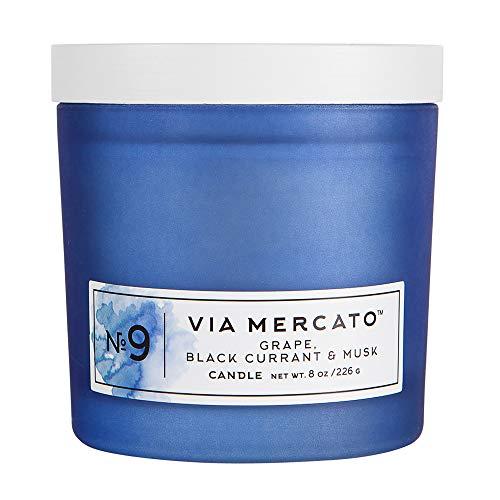 Via Mercato 25155NO9 Single Wick 8 oz. Fragrant Candle, Grape, Black Currant, Musk