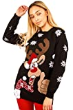 Ladies Thumps Up Aztec Print 3D Scarf Reindeer Novelty Christmas Jumper US 4-12 (US 12 (UK 16), Black)