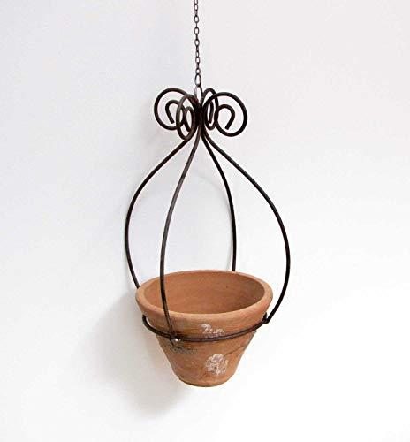 Dekorativer Blumentopfhalter H 40 cm Metall/Terracotta Hängeampel Hängekorb Blumenampel