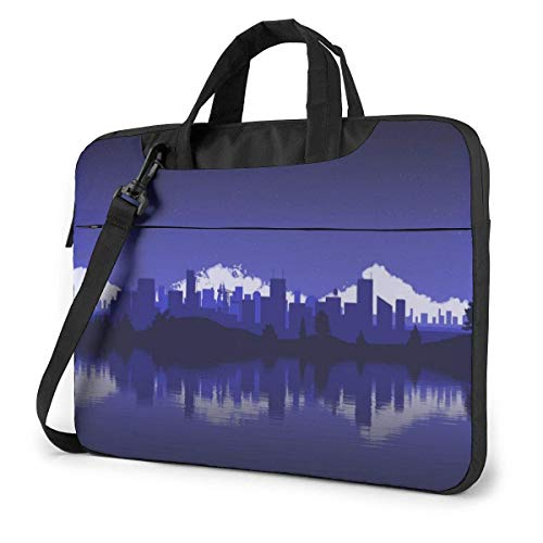 Laptop Shoulder Bag Carrying Laptop Case 13 Inch, City Drawing Computer Sleeve Cover with Handle, Business Briefcase Protective Bag for Ultrabook, MacBook, Asus, Samsung, Sony, Notebook