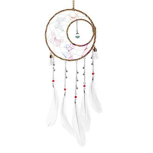 Wisolt Traumfänger Handgefertigt, Feder Dreamcatcher Wandbehang Ornament für Baby Shower Car Hochzeit Home Decor Geschenk (Braun)