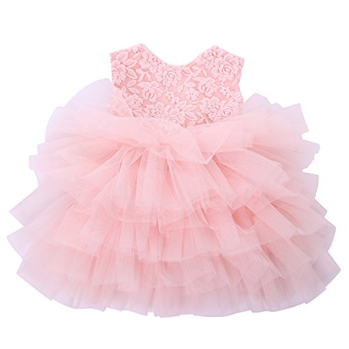 Cilucu Baby Girls Dress Toddler Kids Party Dress Tutu Pageant Lace Dresses Gown for Flower Girl Baby Birthday Pink Peach 6 Months-12 Months
