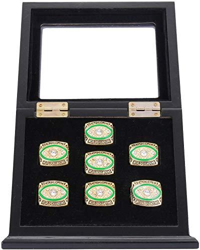 WISHDIAM Championship Ring Display Case Sports Ring Storage Box Wooden Black (7 Slots, Slanted)