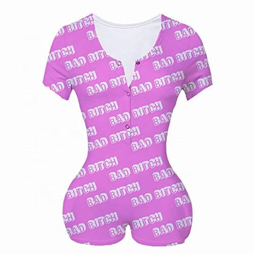 Pijama para Mujer Sexy Body Mangas Largas Estampado Animado para Casa Dormir Mono de Casa Moda con Botones Mameluco de Mujer Invierno (Fucsia, XL)