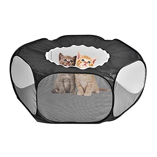 DSFSAEG Parque de juegos para animales pequeños, tienda plegable de jaula para gatos, valla de patio portátil para conejillo de indias conejo hámster (negro)