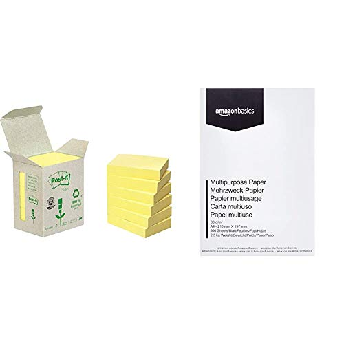 Post-It 653-1B - Pack de 6 notas recicladas, 38 x 51 mm, color amarillo + AmazonBasics Papel multiusos para impresora A4 80gsm, 1 paquete, 500 hojas, blanco