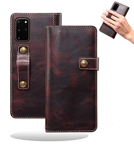 Yidai-Silu Galaxy Note 20 Ultra Echt Leder Tasche, 【DK Knopf, Multi-Funktion Magnet, Fingerhalter】 Handy Hülle Wallet Hülle Geldbeutel Brieftasche für Samsung Galaxy Note 20 Ultra 6,9 Zoll - WeinrotundB