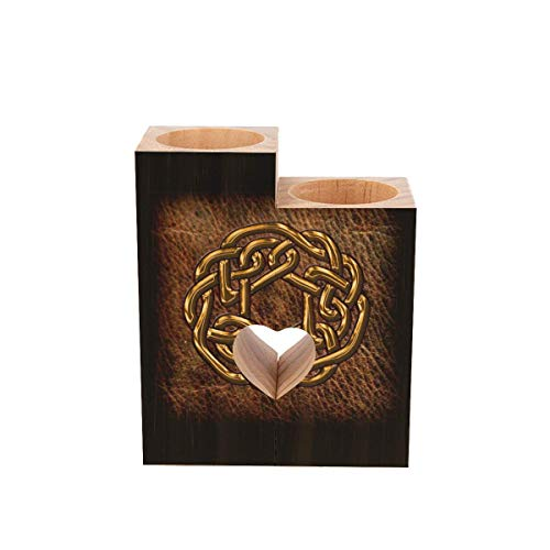 Tea Light Candle Holders,Golden Celtic Knot on Leather Personalized Wooden Heart Pedestal Candle Holder for Rustic Wedding Party Birthday Holiday Home Decor
