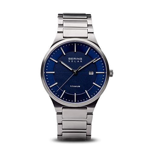 BERING Herren Analog Quarz Uhr mit Titan Armband 15239-777