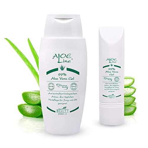 Bio Aloe Vera GEL 99% - spendet Feuchtigkeit & lindert leichte Verbrennungen & Verletzungen, Mücken- & Insektenstiche - ohne Duft- & Farbstoffe - VEGAN/Set (1 x 150 ml + 1 x 50 ml)
