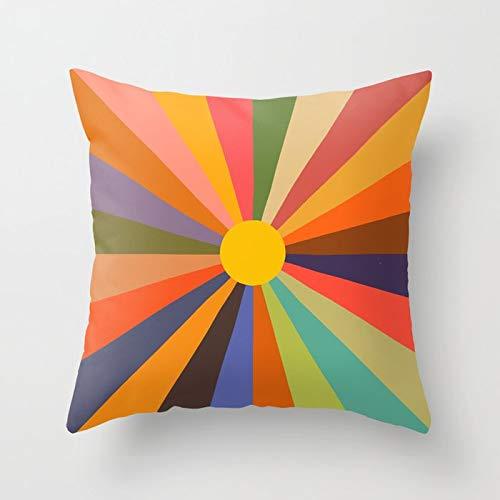 Retro Rainbow Throw Pillow Cover Vintage CD DVD Bicicleta autobús Funda de cojín decoración del hogar Funda de Almohada A11 45x45cm 1pc