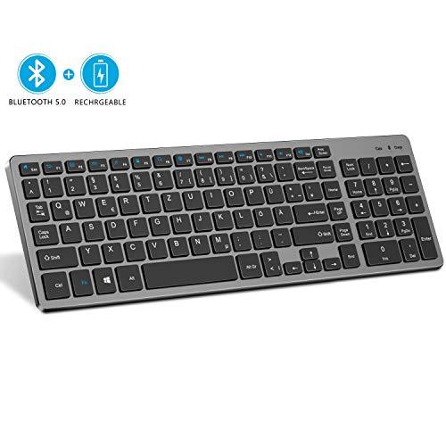 Seenda - Teclado inalámbrico Bluetooth inalámbrico, recargable, teclado QWERTZ alemán inalámbrico para ordenador portátil/ordenador/Windows