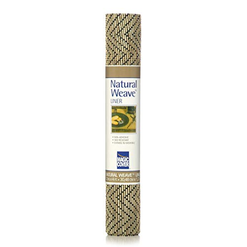 Magic Cover Natural Weave Non-Adhesive Shelf Liner, Zig Zag Black/Ivory, 12-Inch by 4-Feet