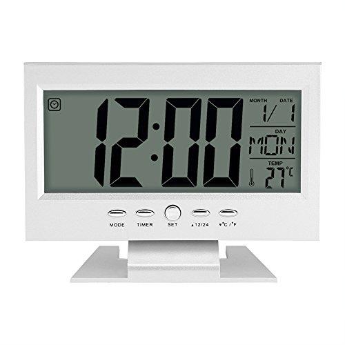 LCD Display Digital Sound Sensor Tisch Schreibtisch Wecker mit Smart Nachtlicht und Snooze Zeit / Datum / Temperaturanzeige(Silber)