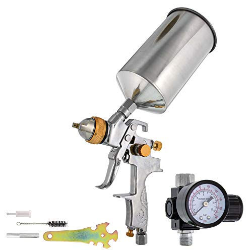 Tcp global® brand professional 1. 3mm hvlp spray gun-gravity feed-auto paint basecoat clearcoat with air regulator (g6600-13)