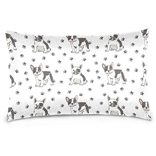 Kaariok Dog Puppy French Bulldog Paw Cotton Pillowcase Standard Size Double Printed Soft Pillow Case Cover Protector with Zipper Home 20 X 26 Inches